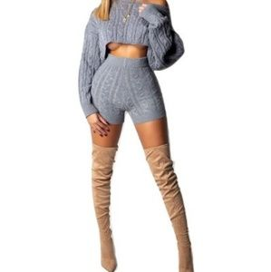 2 piece shorts light weight knit set